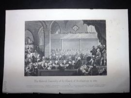 After Allan 1860 Antique Print. General Assembly of Church of Scotland in 1783